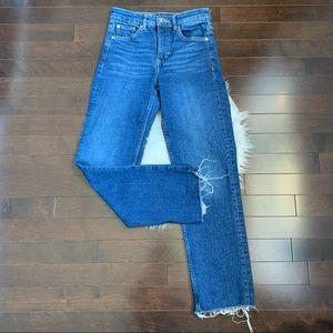 Crop High rise frayed hem jeans